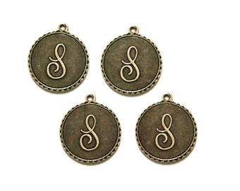 Brass Ox Letter S Initial Charm Drop with Loop (4) chr194S