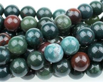 """Dakota Stones Bloodstone 8mm Round Gemstones. 8"""" Strand. BLD8RD-8"""