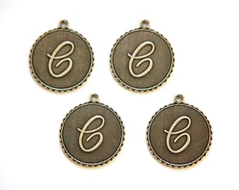Brass Ox Letter C Initial Charm Drop with Loop (4) chr194C