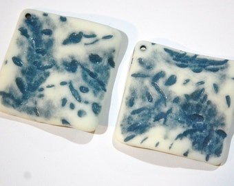 Vintage Matte Blue on Soft White Etched Square Wavy Acrylic Pendants 36mm (2) pnd149B