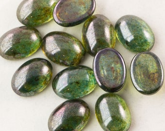 Czech Transparent Luster Green Glass Cabochons 18x13mm (4) cab906B
