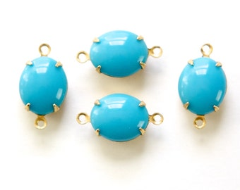 Vintage Opaque Turquoise Blue Oval Stones in 2 Loop Brass Setting 12mmx10mm (4) ovl011M2