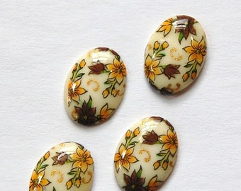 Vintage Brown and Yellow Flower Cabochons Japan 14x10mm (4) cab425A