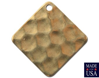1 Hole Raw Brass Hammered Square Charm / Drops 13mm (10) mtl466A