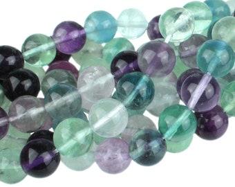 "Dakota Stones Banded Fluorite 10mm Round Gemstones. 8"" Strand. FLU10RD-8"