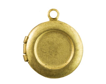 Raw Brass Round Lockets with 8mm Setting (6) lkt002A
