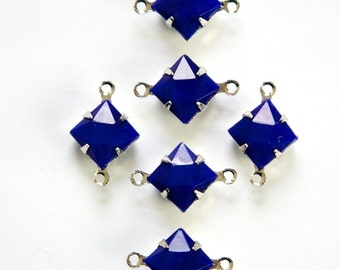 Opaque Blue Faceted Square Glass Stones 2 Loop Silver Setting 8mm squ008G2