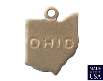 Raw Brass Tiny Ohio State Charm Drops (6) chr201AA