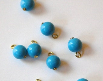 Vintage Turquoise Blue Plastic Bead Drops with Loop Japan drp024A