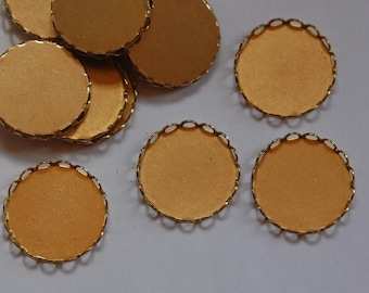 Raw Brass Lace Edge Fillgree Setting 18mm Round (8) stn001C