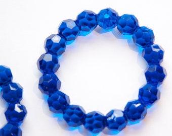 Vintage Acrylic Blue Faceted Pendant Hoop hps005D