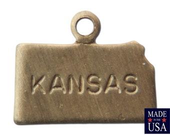 Raw Brass Tiny Kansas State Charm Drops 11x9mm (2) chr202AC