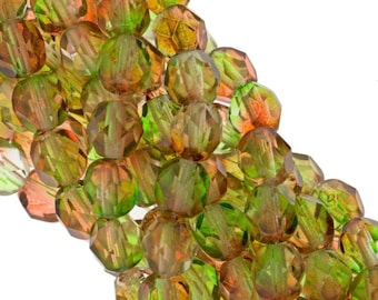 Czech Faceted Dual Coated Peach/Pear Firepolish Glass Beads 6mm (25)