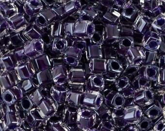 Grape Lined Crystal Miyuki Cube Seed Bead 1.8mm 8.2gm Tube SB18-223-TB