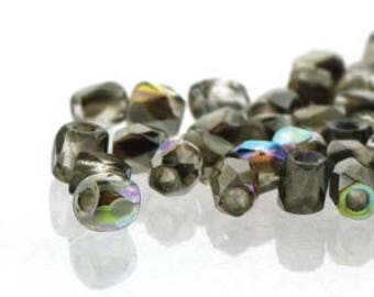 True 2 Czech Crystal Graphite Rainbow Faceted Fire Polished Glass Beads 2mm (200+/-)