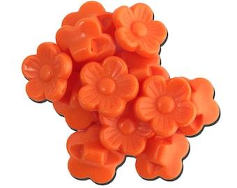 Vintage Orange Plastic Flower Buttons 16mm btn005D