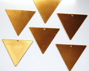 1 Bottom Hole Raw Brass Flat Geometric Triangle Pendant Charm 35mm (6) mtl145E