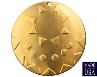 1 Hole Raw Brass Southwestern Drop / Pendant with 18mm Setting (2) mtl483A