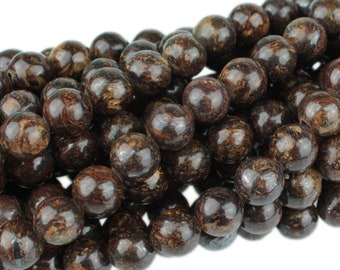 "Dakota Stones Bronzite 8mm Round Gemstones. 8"" Strand. BRZ8RD-8"