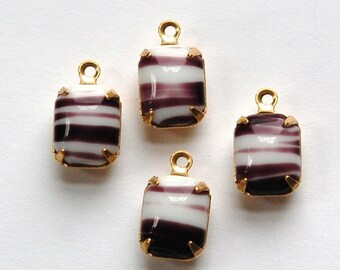 Purple and White Stones in 1 Loop Brass Setting 10mm x 8mm squ003M