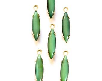 Vintage Green to Black Glass Navette Stones in Brass 1 Loop Setting 15x4mm (6) nav003H