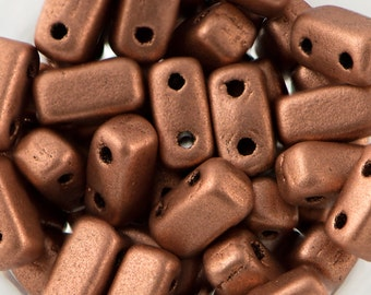Matte Metallic Copper Czech Mate Brick Beads 3/6mm (50) 365-36-K0177