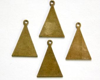Raw Brass Flat Triangle with Loop Charm Pendant  (6) mtl399B
