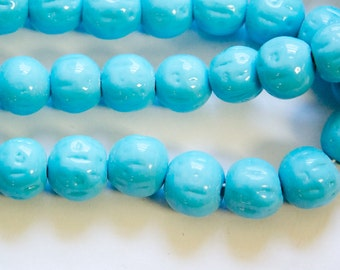 Vintage Blue Turquoise Glass Baroque Beads Japan 12mm (6) jpn008F