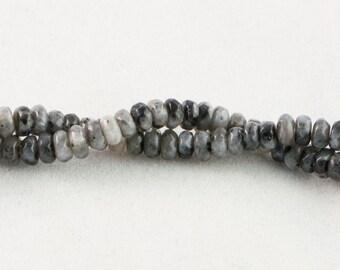 """30% OFF Dakota Stones Larvakite 4mm Faceted Rondelle Beads Gemstones. 8"""" Strand. LAR4RL-F-8"""