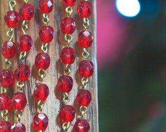 Red Faceted Czech Glass 6mm Beaded Chain Raw Brass Links chn140