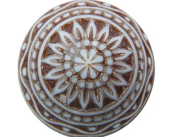 Vintage Etched Mosaic Brown and White Cabochons 14mm cab713C