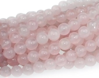 Dakota Stones Rose Quartz 6mm Round Bead Gemstones. RQZ6RD-8