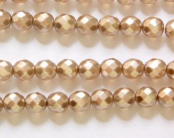 Czech Opaque Pearl Light Brown Faceted Glass Beads 8mm (20) czh022D