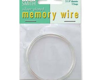 """Beadsmith Silver Plated Memory Wire 2 1/4"""" Diameter, 12 Loop"""