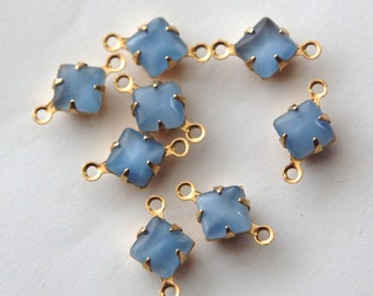 Blue Moonglow Square Glass Stones in 2 Loop Brass Setting 6mm squ001A2