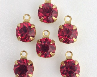 Vintage Rose Faceted Glass Stone 1 Loop Brass Setting Drops 7mm (6) rnd001HH
