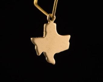 Raw Brass Tiny Texas Blank State Charm Drops (6) chr228A