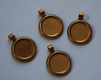Raw Brass Round Setting with Open Bail 13mm stn016A