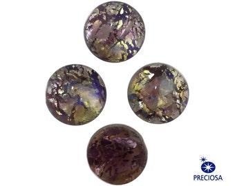 Preciosa Amethyst Foil Opal Round Glass Cabochons 7mm (4) cab3003E