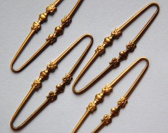 Raw Brass Long Oval Link Connector Drop (4) mtl321A