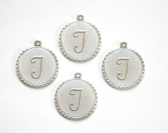 Matte Silver Plated Letter T Initial Charm Drop with Loop (4) chr196T