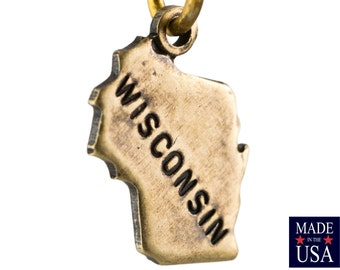 Brass Ox Tiny Wisconsin State Charm Drops (2) chr204LL