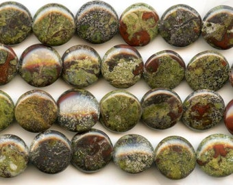 "Dakota Stones Dragon Blood Jasper 12mm Coin Gemstones. 8"" Strand DBJ12DC-8"