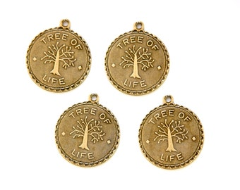 Brass Ox Tree of Life Charm Drop with Loop (4) chr194GG