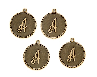 Brass Ox Letter A Initial Charm Drop with Loop (4) chr194A