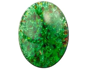 Vintage Green Foil Opal Glass Cabochon 40X30mm (1) cab438B