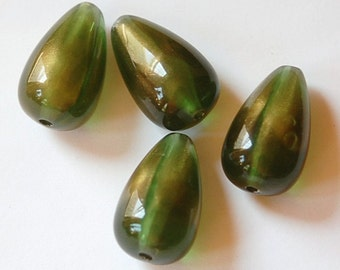 Vintage Olive Green and Gold Chubby Teardrop Beads bds203