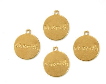 CHERISH Round Raw Brass Word Charm Drop with Loop (8) chr192Q