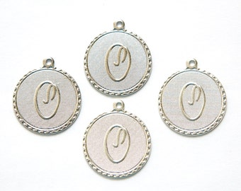 Matte Silver Plated Letter O Initial Charm Drop with Loop (4) chr196o