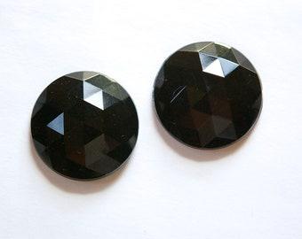 Vintage German Black Faceted Glass Cabochon 24mm tri cab720